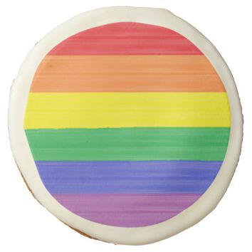 Painted Rainbow Flag Sugar Cookie
