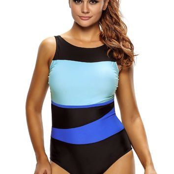 Chicloth Chic Color Block Accent Hollow out One Piece Swimsuit