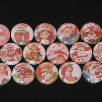 15 Strawberry Shortcake Flatback or Pinback buttons 1 inch