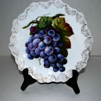 Bavaria porcelain dish hand painted grapes gold border