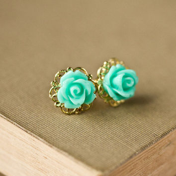 Christmas gift  Mint Rose Earrings  Shabby Chic Post by lonkoosh