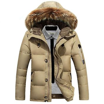 Thick Warm Hooded Men Duck Down Jacket Waterproof Fur Collar