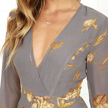 Fine and Dandelion Grey Floral Print Romper