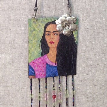 Frida Kahlo Hand Painted Necklace, Frida Kahlo Jewelry, Frida Handmade Necklace, Wearable art, Beaded Necklace Pendant Necklace, Art to wear
