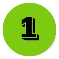 Number One Large Round Green Stickers by Janz