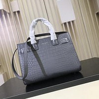 YSL Saint Laurent Small Sac De Jour Tote Bag in Grey Leather 355153 2034 W14