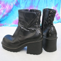Vintage black corset lace up chunky 90s boots size 10