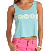 Daisy Graphic Swing Crop Top by Charlotte Russe - Mint