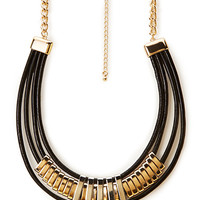 FOREVER 21 Coated Collar Necklace Black/Gold One