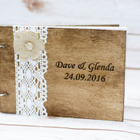 Wedding Guest Book Personalized Wooden Guestbook Rustic Guest Book Custom Guest Book