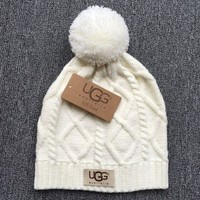 Trendy White Ugg Autumn Winter Soft Knit Beanies Hat