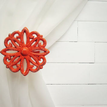 Two Metal Curtain Tie Backs / Curtain Tiebacks / Curtain Holdback / Drapery Tieback / Shabby Chic Window / Orange Home Decor / Curtain Hook