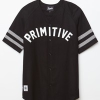 Primitive Draft Choice Button Up Baseball Jersey - Mens Tee - Black/Black