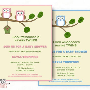 Twin Baby Shower Invitation - Twin Baby Shower Invites (Printable) Owl Baby Shower Invitation - Owl Baby Shower Invites - Twin Girl