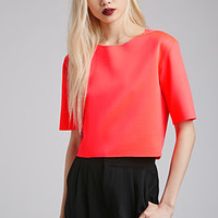 Raw-Edged Scuba Knit Top