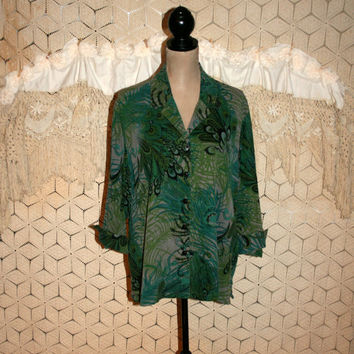 Bohemian Blouse Hippie Shirt Button Up 3/4 Sleeve Peacock Feather Muted Green Casual Top Rayon Tencel Tianello Medium Womens Clothing