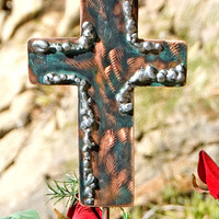 Cross Garden Plant Stake / Garden Art / Metal Yard Art / Memorial Art  / Garden Grave Marker / Garden Copper Art / Christian  / Cross Gift