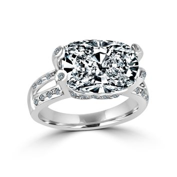 8 CT.(14x10mm) Intensely Radiant Cushion Diamond Veneer Cubic Zirconia Set in Sterling Silver Modern Style Ring. 635R71487