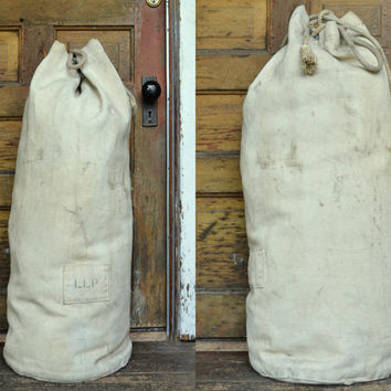 Vintage 1930's Canvas US Navy Military Stenciled Duffle Bag