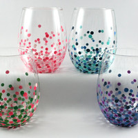 Set of 4 Custom Dot Painted Stemless Wine by TiedUpWithLove