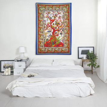 Vantage Decor Tree of Life Indian Forest Animal Birds and Floral Print Magical Thinking Tapestry Hippie Bohemian Bedspread Wall Hanging for Bedroom Living Room 80 X 60 inches Cotton Tapestry