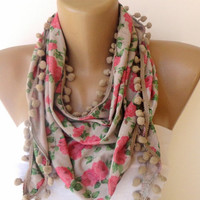 girly scarf, women fashion accessories , pink green beige floral print scarf with pom pom trim , for her