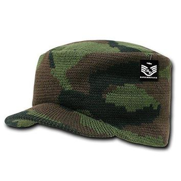 Camo Military Jeep Flat Top Knit Caps - Woodland