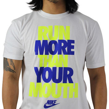 Nike Mens Run More Than Your Mouth Slogan Athletic T-Shirt