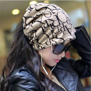 DCCKU62 New Warm Women Hat Female Cap Hip-Hop English Letter Multi Purpose Baggy Hat Knitted Letter Beanies
