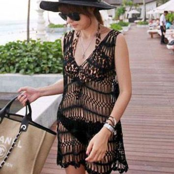 PEAP78W Black Sexy Cool V Neck Knitted Beach Cover-up