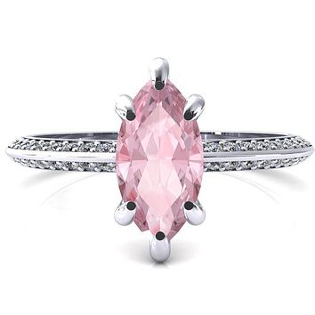 Nancy Marquise Pink Sapphire 6 Prong 1/2 Eternity Diamond Knife Shank Accent Engagement Ring