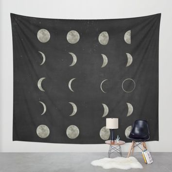 Moon Phases, Black White Decor, Bohemian, Magic, Lunar Cycle Wall Tapestry by PeachAndGold | Society6