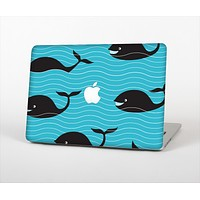 The Teal Smiling Black Whale Pattern Skin Set for the Apple MacBook Pro 15""