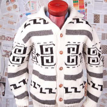 Big Lebowski The Dude cardigan Cowichan Style Men's Sweater with buttons - Pendleton Style