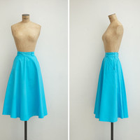1970s Skirt - Vintage 70s Turquoise Cotton Circle Skirt - Calella Skirt