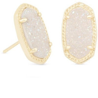 Kendra Scott: Ellie Gold Stud Earrings In Iridescent Drusy