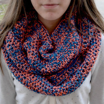 Pink and Blue Crocheted Infinity Scarf