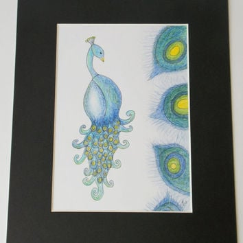Peacock ink and pencil drawing in a black mount and black backing card, original artwork.