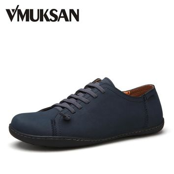 VMUKSAN New 2017 Mens Shoes Split Leather Men's Flats Handmade Mens Loafers Fashion Designer Slip On Espadrilles
