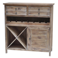 Crestview Jackson 2 Drawer Weathered Oak Wine Cabinet - CVFZR756