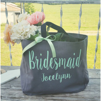 Personalized Bridesmaid Tote Bag, Maid of Honor Bridal Monogrammed Bag