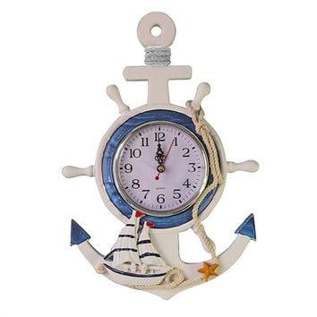 Anchor Clock, Sea Themed Nautical Ship Wheel Rudder Steering