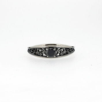 Ready to ship size 11.5, Black diamond filigree ring with black rhodium, white gold ring, gothic wedding, men's black diamond ring, gothic