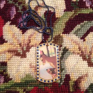 Walt Disney's Bambi and His Mother Gold With Blue Rhinestones Dog Tag Necklace