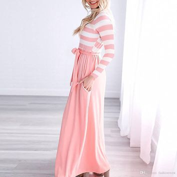 summer dresses Women Dress Round Neck Long Sleeve Striped Stitching Casual Dress Of The Women Fashion Clothes A Skirt