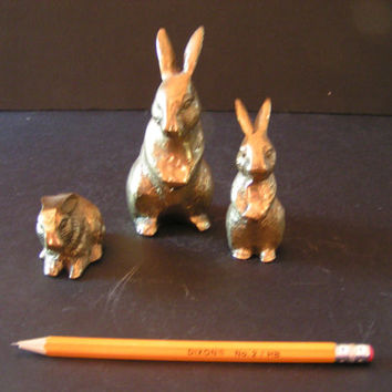 Vintage Brass Rabbit Figurine Trio perfect for Shabby Chic French Country Farmhouse Decor
