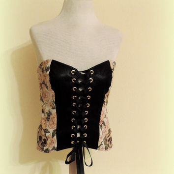 Corset faux leather, steampunk clothes punk rock clothes, tank top, adult tutu dress top, rock a billy, skulls and roses goth gothic clothes