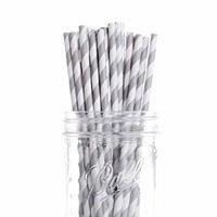 Dress My Cupcake 25-Pack Vintage Paper Cakepop Straws, 6-Inch, Grey Striped