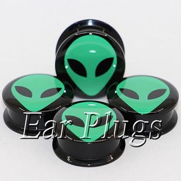 ac ICIKO2Q 1 pair green alien ear plug gauges tunnel acrylic screw flesh tunnel body piercing jewelry PAP0494