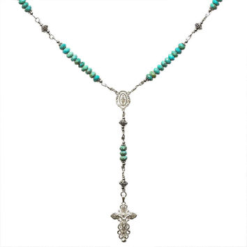 Sterling Silver Rosary Necklace Turquoise 6mm Crucifix & Miraculous Medal 17""